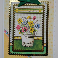 3D Luxury Handmade Card Especially for You Birthday Bucket of Spring Flowers