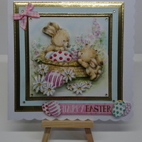 3D Luxury Handmade Card Happy Easter Cute Bunnies in a Basket of Easter Eggs