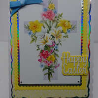 3D Luxury Handmade Card Happy Easter Cross Spring Flowers Daffodils