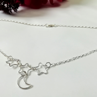 Star and moon necklace, star necklace, moon sterling silver necklace, celestial