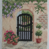 Handmade Completed Cross Stitch 'Courtyard Gate 1''