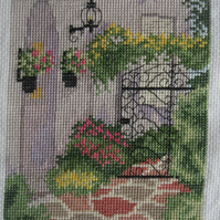 Handmade Completed Cross Stitch 'Courtyard Gate 2''