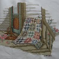 Handmade Completed Cross Stitch 'Quilt By The Front Door''