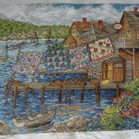 Handmade Completed Cross Stitch 'Quilts On Dock''