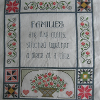 Handmade Completed Cross Stitch 'Families''