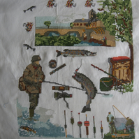 Handmade Completed Cross Stitch 'Fishing''