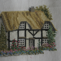 Handmade Completed Cross Stitch 'Cottage''