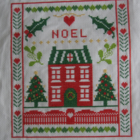 Handmade Completed Cross Stitch 'Noel''
