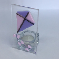 Fused glass kite tea light holder