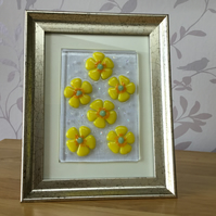 Fused glass yellow buttercup framed picture