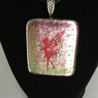 Fused glass rose gold dichroic pendant with fairy decal