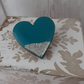 Heart Wood Brooch Pin - Turquoise and Silver