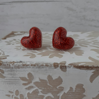 Red Sparkly Resin Heart Stud Earrings