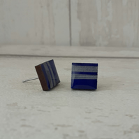 Blue and Silver Line Square Wood Stud Earrings