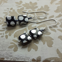 Black and Silver Spotty Square Bead Dangle Earrings