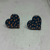 Teal Green and Copper Spotty Dotty Heart Wood Stud Earrings