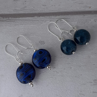 Two pairs Earrings Set - Navy and Blue Beaded Dangle Earrings