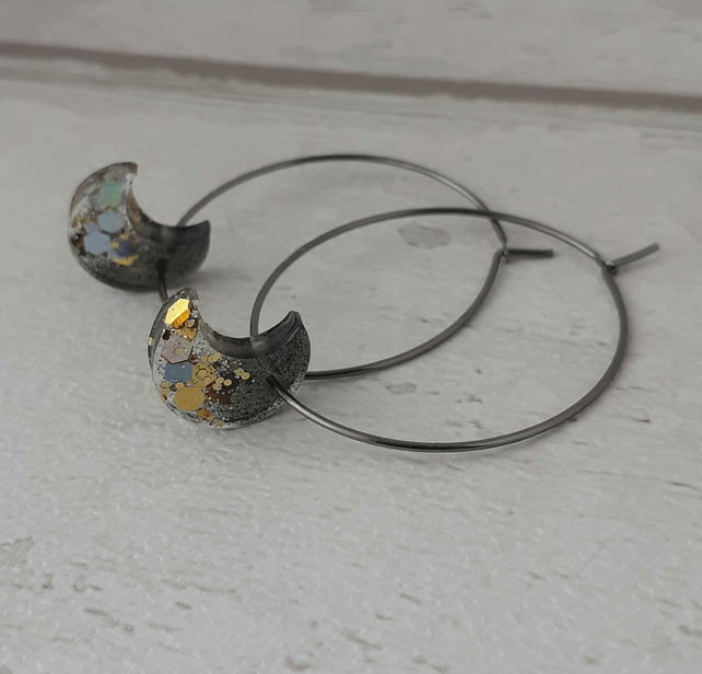 Crescent Moon Sparkly Hoop Earrings - Black, Silver and Gold