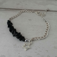 Black Agate Stone Chip and Star Charm Bracelet