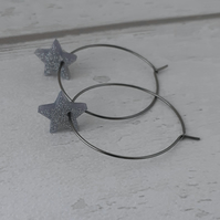 Sparkly Silver Grey Star Hoop Earrings