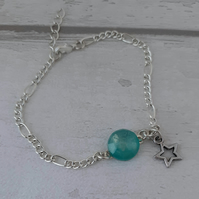 Star and Green Resin Charm Bracelet