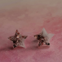 White & Rose Gold Glitter Star Resin Earrings