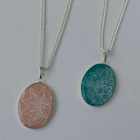 White Print Oval Pendant Necklace - Colour Choice Available