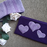 Upcycled wool jumper to heart clutch bag, purple, cotton lined