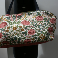 Overnight bag - upcycled and vintage, birds roses floral holdall, tote, handbag