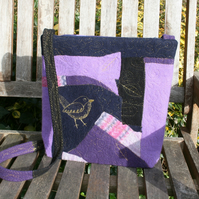 Embroidered wren bird leaves crossbody bag - large purple handbag or small tote