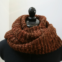 100% Alpaca infinity scarf in red tint and brown