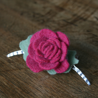 Cashmere rose upcycled hair slide comb in pink