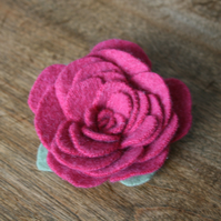 Cashmere brooch, deep pink upcycled felt rose flower broach pin
