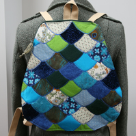 Dragon scale backpack in blue green. Vintage fabrics upcycled fish mermaid scale