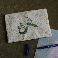 Notebook Journal embroidered with a celtic knot style green dragon. Diary cover