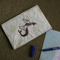 Notebook Journal embroidered with a celtic knot style red dragon. Diary cover