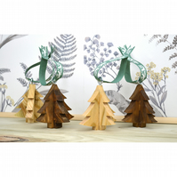 Set of 4 Handmade 3D Wooden Christmas Decorations