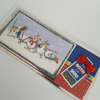 To both of you - penguin Christmas card , Bright card