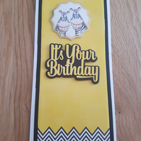 It's your birthday handmade greeting card - Bright card, Zebra