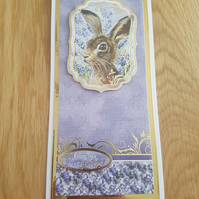 Wishing you a hoppy birthday handmade greeting card - Rabbit, Hare
