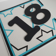 18th handmade Birthday card - Can be made for any age or in any colours