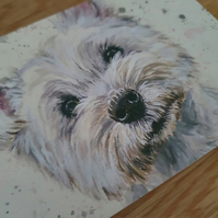 West highland terrier handmade greeting card, note card - Artist Bree Merryn