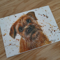 Border terrier handmade greeting card, note card - Artist Bree Merryn - Seperate