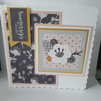 Birthday celebrations handmade greeting card - Flowers