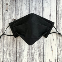 Adjustable Black Fabric Face Mask