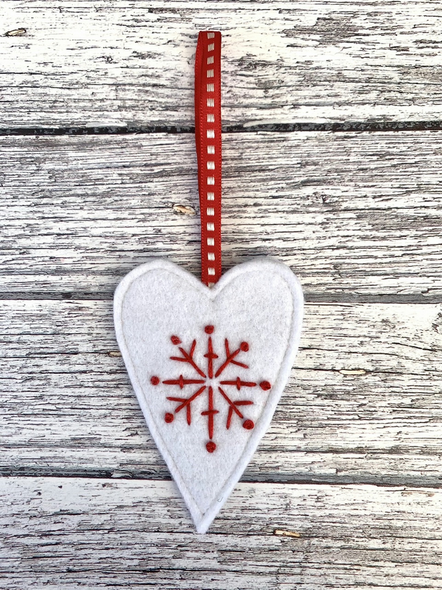 Wool felt Hanging Heart Decoration