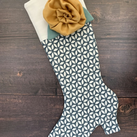 High Heeled Boot Stocking with Rose Brooch