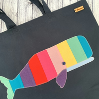 Rainbow Whale Tote Bag