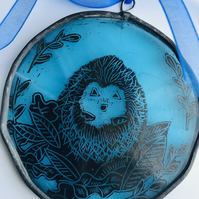 Hedgehog  stained glass suncatcher, circle, blue