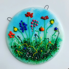 Wildflower fused glass wall hanging, gift for mum, housewarming